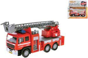 Auto hasiči 17cm zpětný nátah PB CZ mluvící Světlo Zvuk Kov
